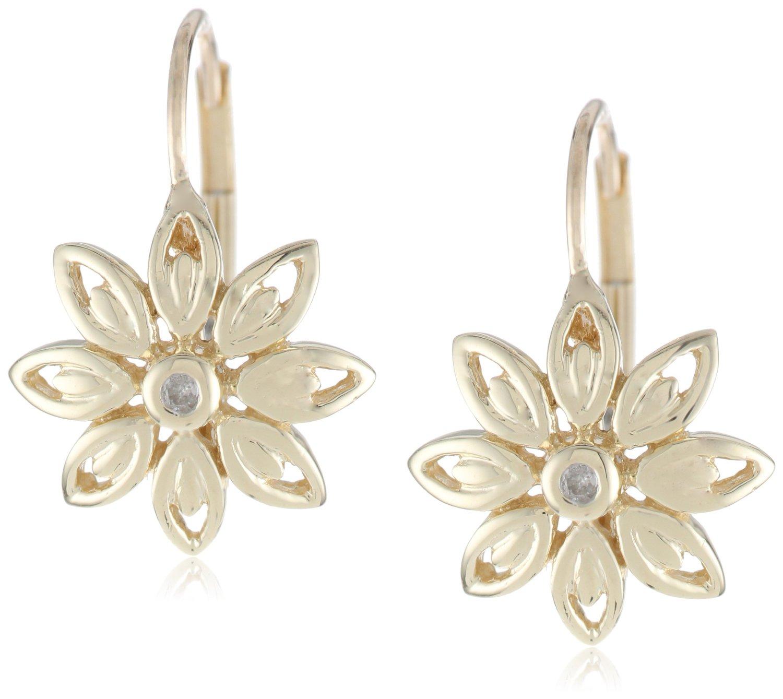 Diamond Leverback Earrings Yellow Gold Diamond Earrings Leverback