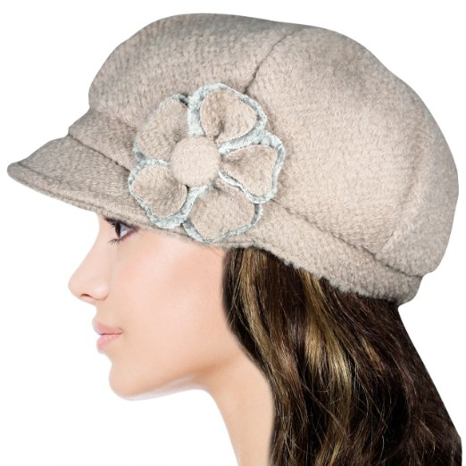 2df78e1b Dahlia Women's Chic Flower Wool Blend Newsboy Hat - Visuall.co