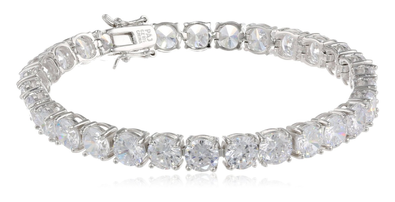 Sterling Silver And Round Cut Cubic Zirconia Tennis Bracelet 7 25 Visuall Co
