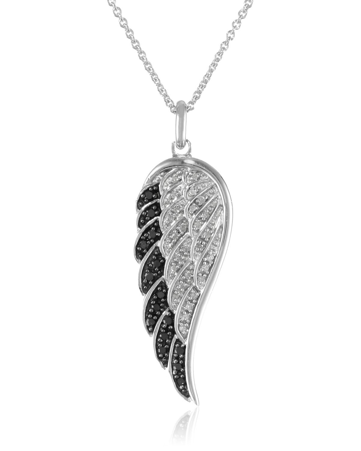 Sterling Silver Black And White Diamond Angel Wing Pendant