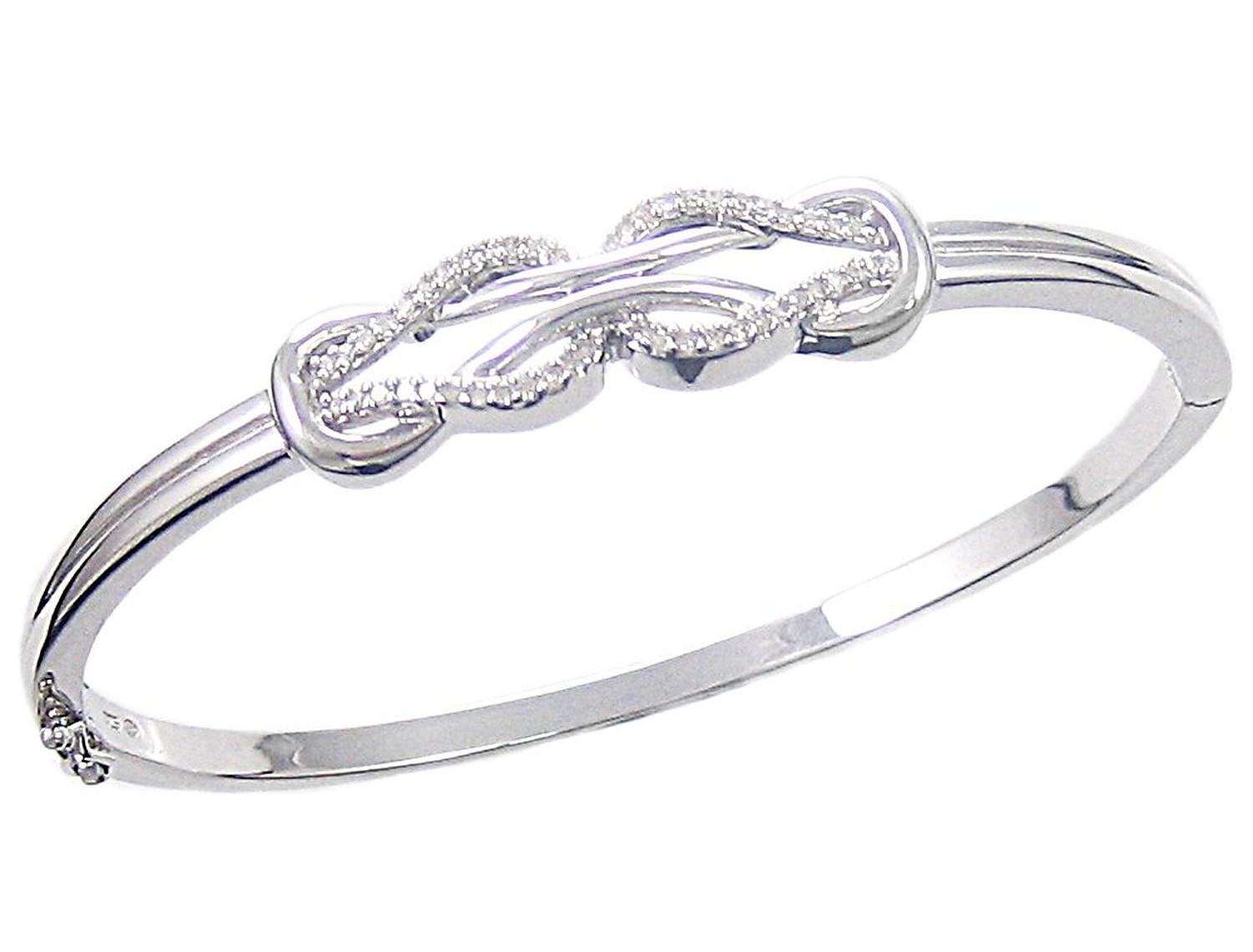 Sterling Silver Diamond Double Knot Bangle Bracelet