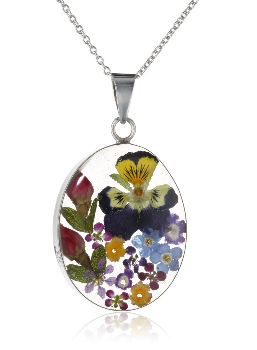 Sterling Silver Pressed Flower Oval Pendant Necklace