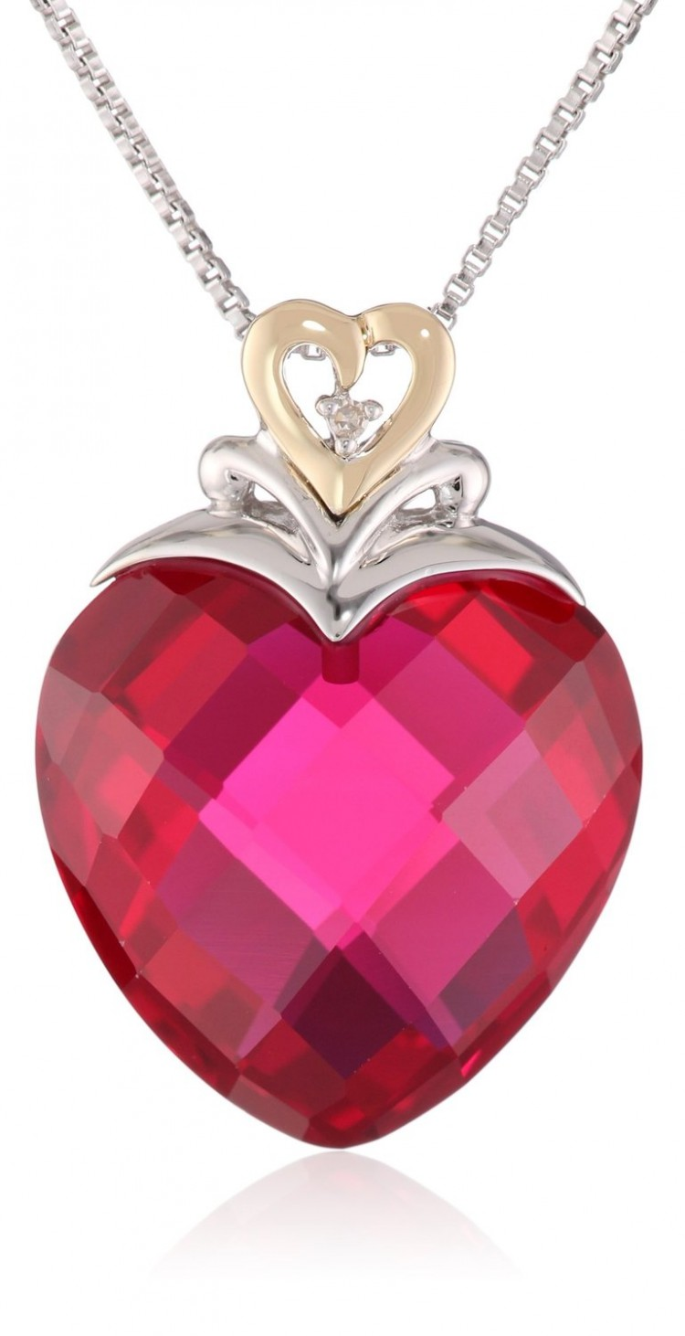 Xpy Sterling Silver And 14k Yellow Gold Created Ruby Heart