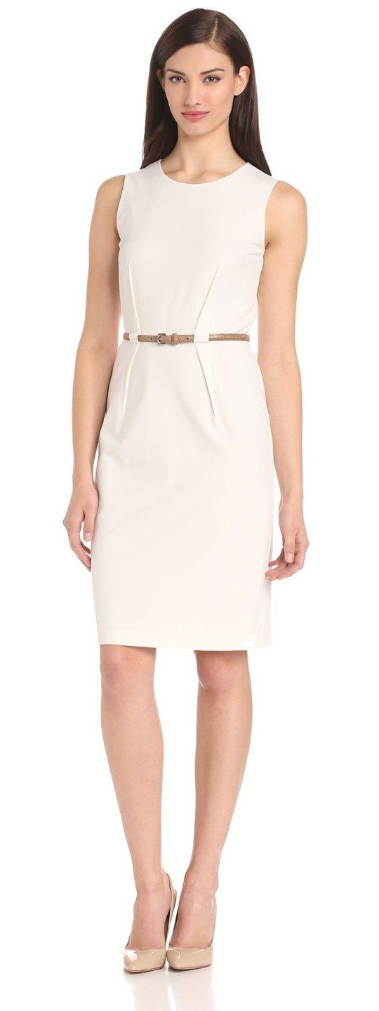 Calvin Klein Women's Sleeveless Belted Suit Dress - Visuall.co