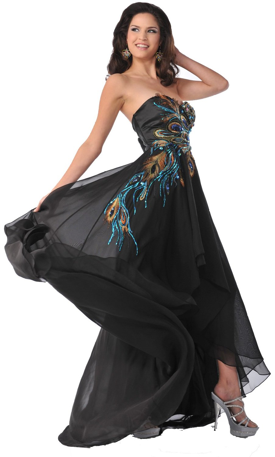 Meier Women S Strapless Peacock Embroidery Chiffon Gown
