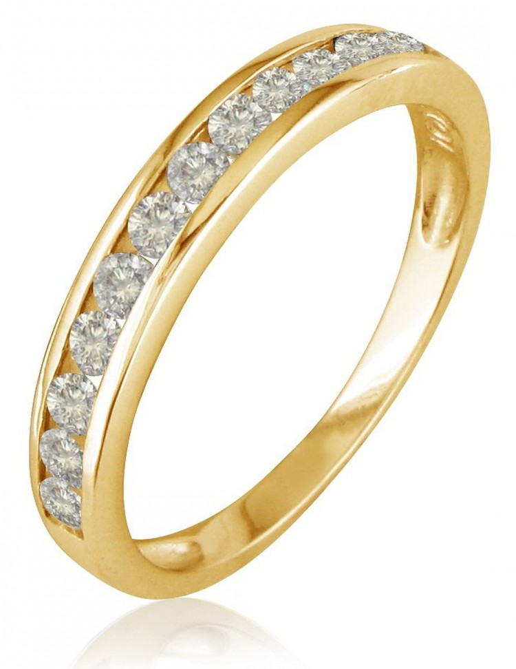10K Yellow Gold Round Diamond Anniversary Wedding Band Ring Visuall