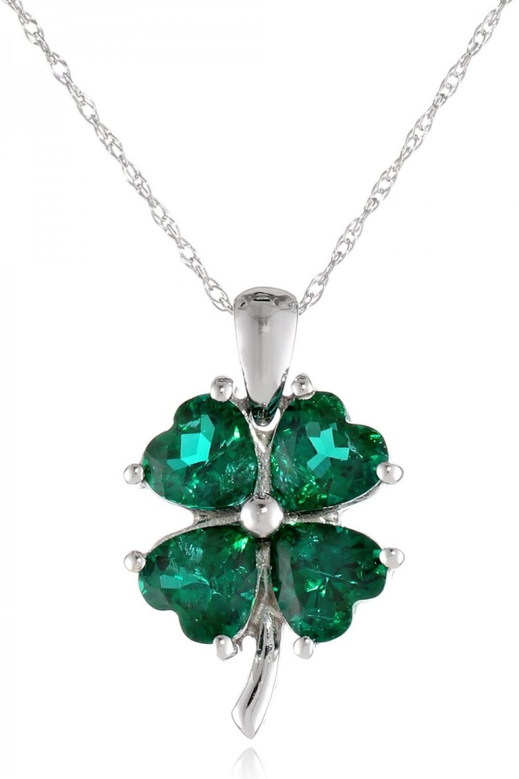 10k White Gold Created Gemstone Four Leaf Clover Pendant