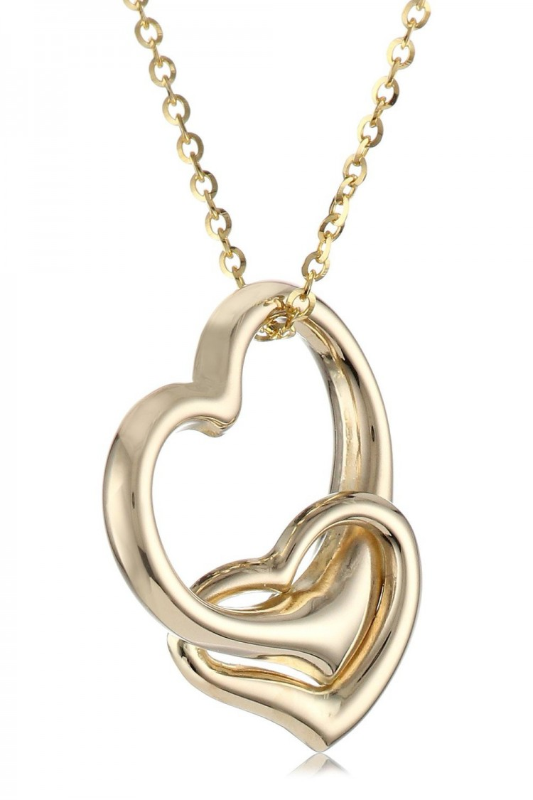 14k yellow gold double heart pendant necklace 16 visuall aloadofball Choice Image