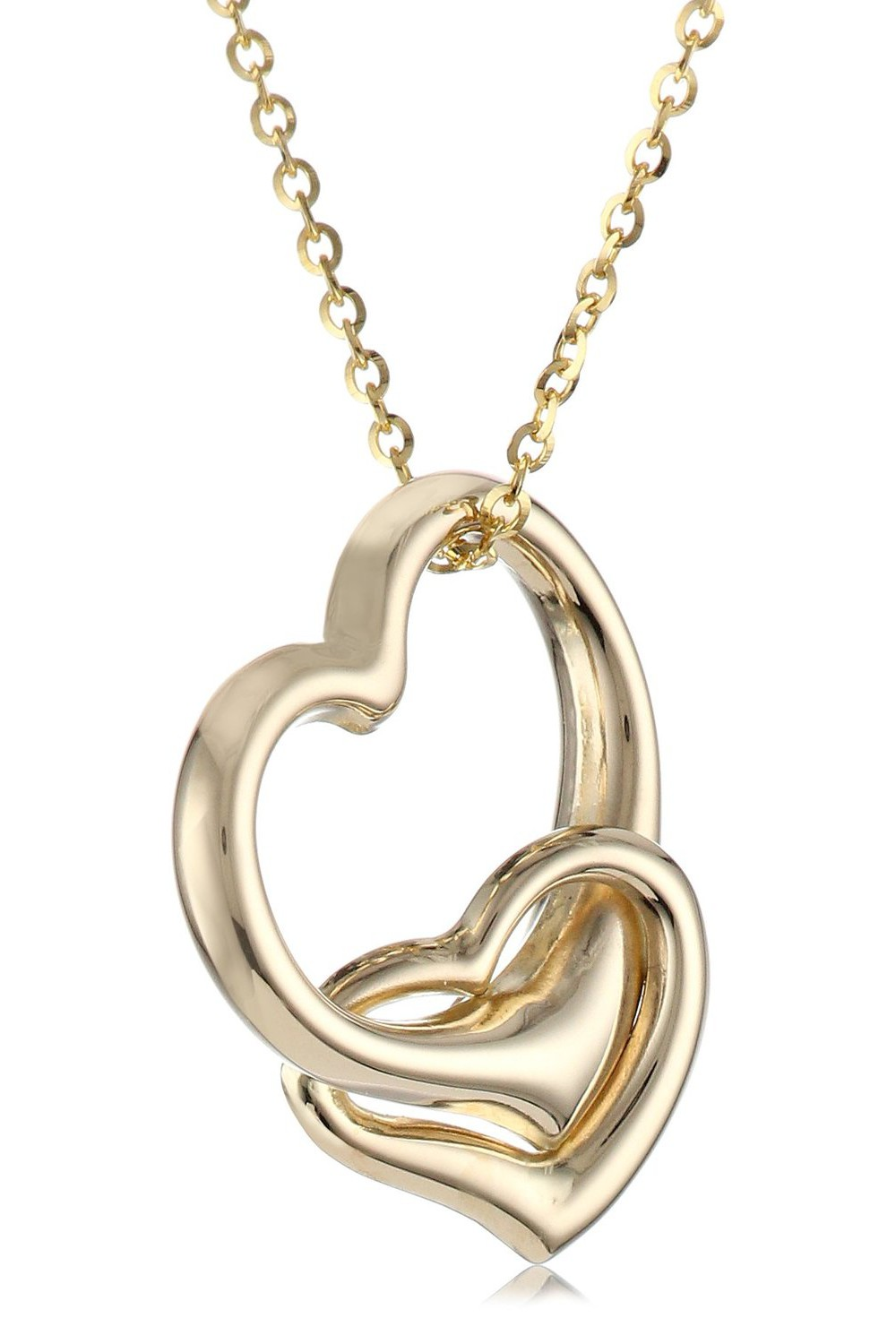 14k Yellow Gold Double Heart Pendant Necklace 16 Quot Visuall Co