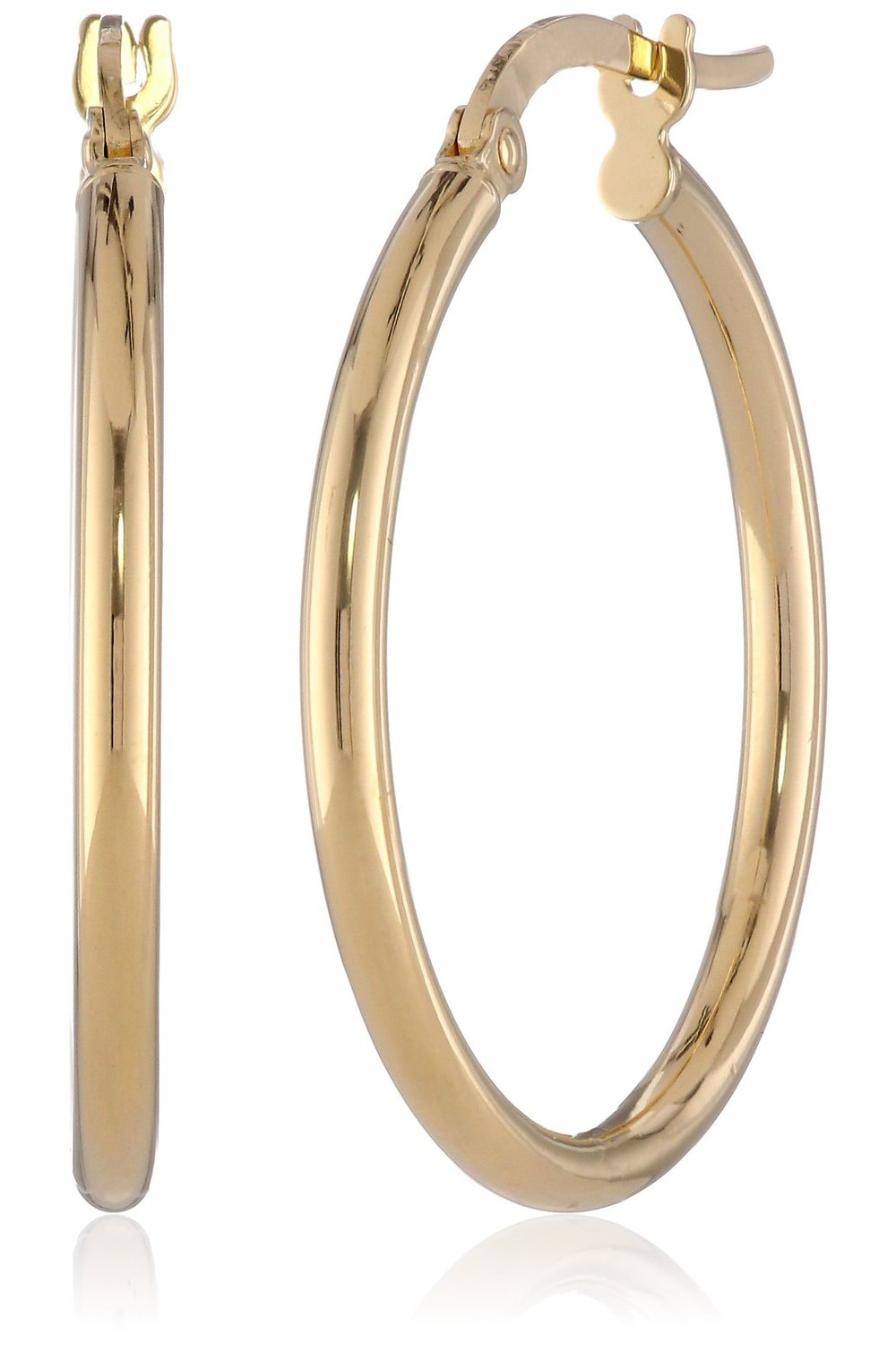 14k Yellow Gold Italian Hoop Earrings Visuall Co