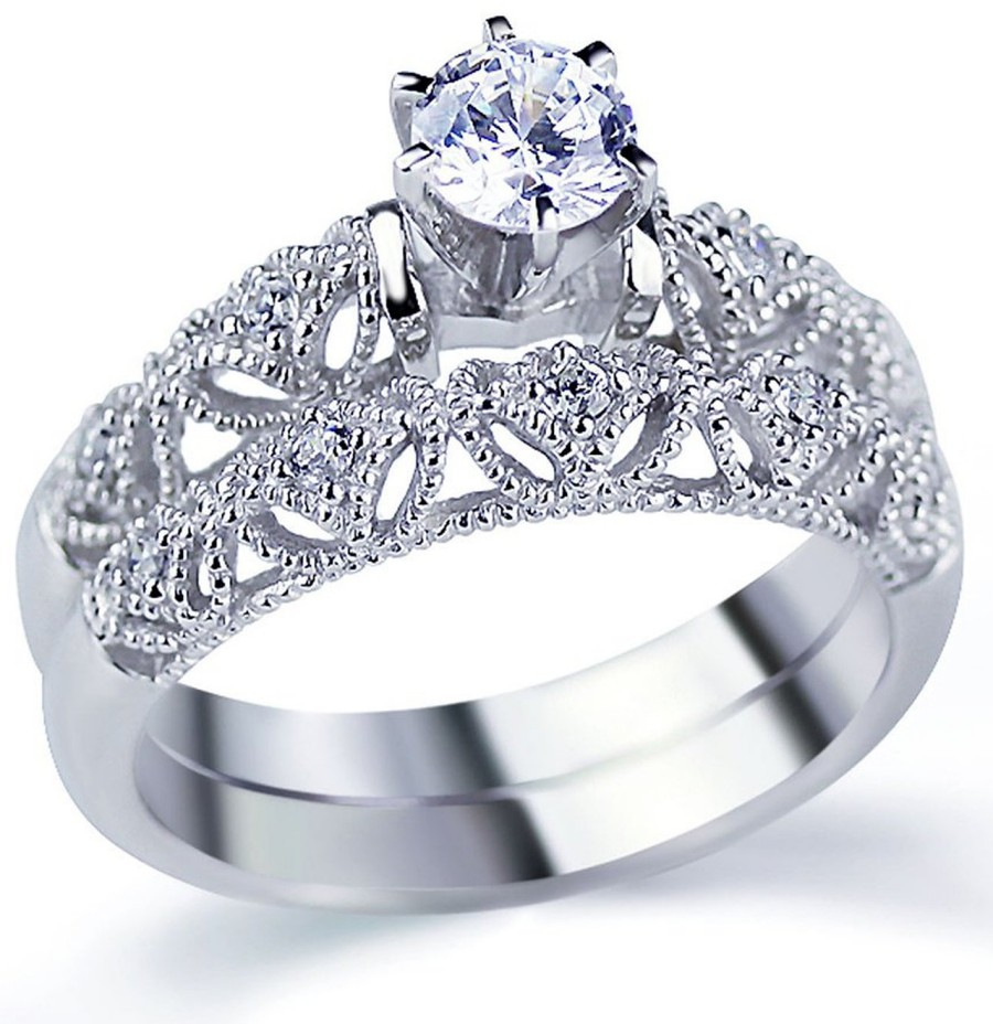 Rhodium Plated Sterling Silver Vintage Style 2Pc Engagement Ring Bridal Sets For Women 8mm