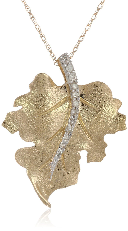 10k Yellow Gold Diamond Leaf Pendant Visuall Co