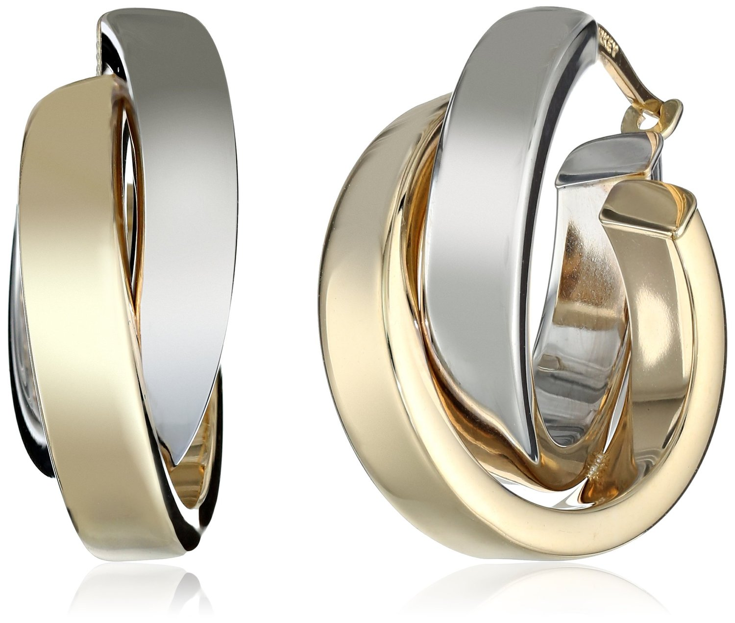 Duragold 14k Yellow White Or Two Tone Gold Satin And Polished Crossover Hoop Earrings Visuall Co