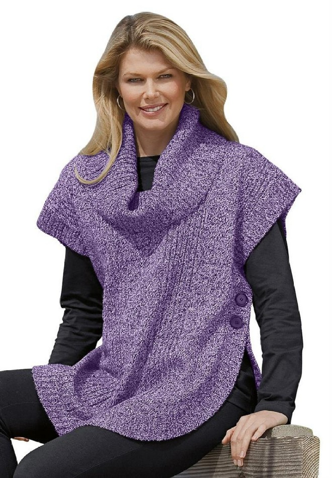 Woman Within Women's Poncho Style with Cowl Neck Sweater - Visuall.co
