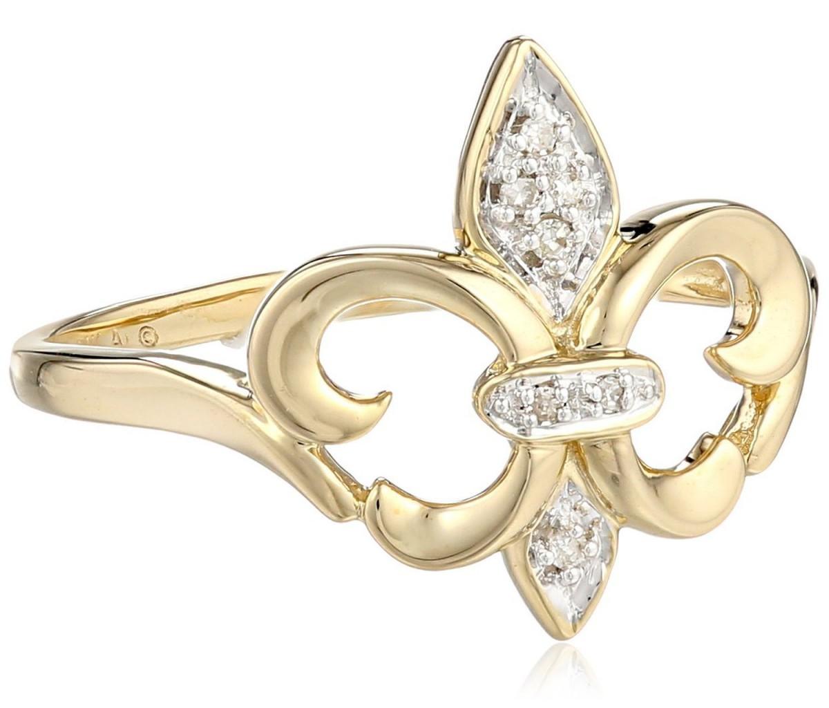 Xpy 14k Yellow Gold Fleur De Lis Diamond Ring Visuall Co