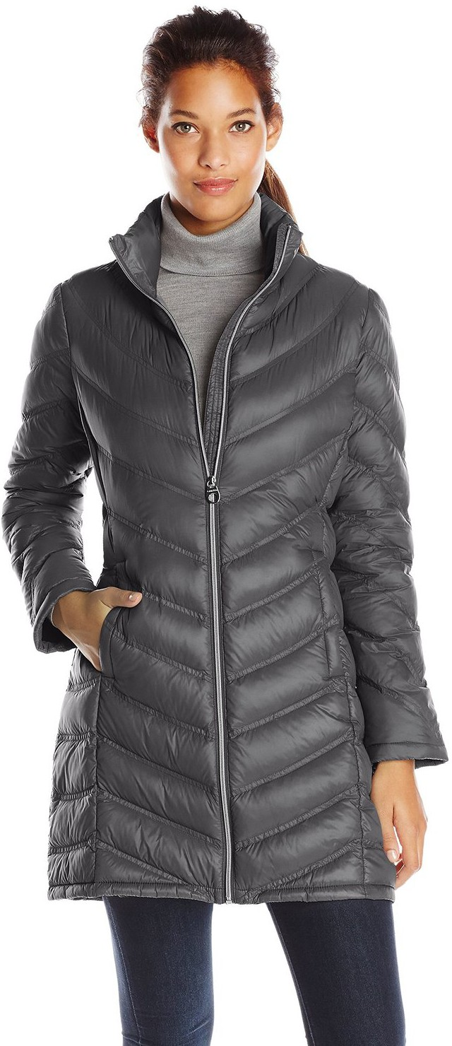 Calvin Klein Women S Chevron Quilted Packable Down Coat