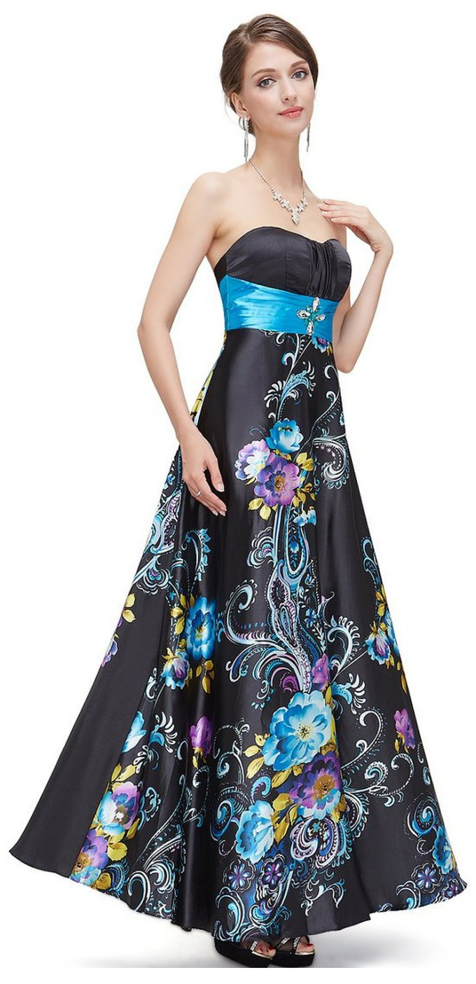 Ever Pretty Floral Printed Strapless Rhinestones Satin Ruffles Prom ...