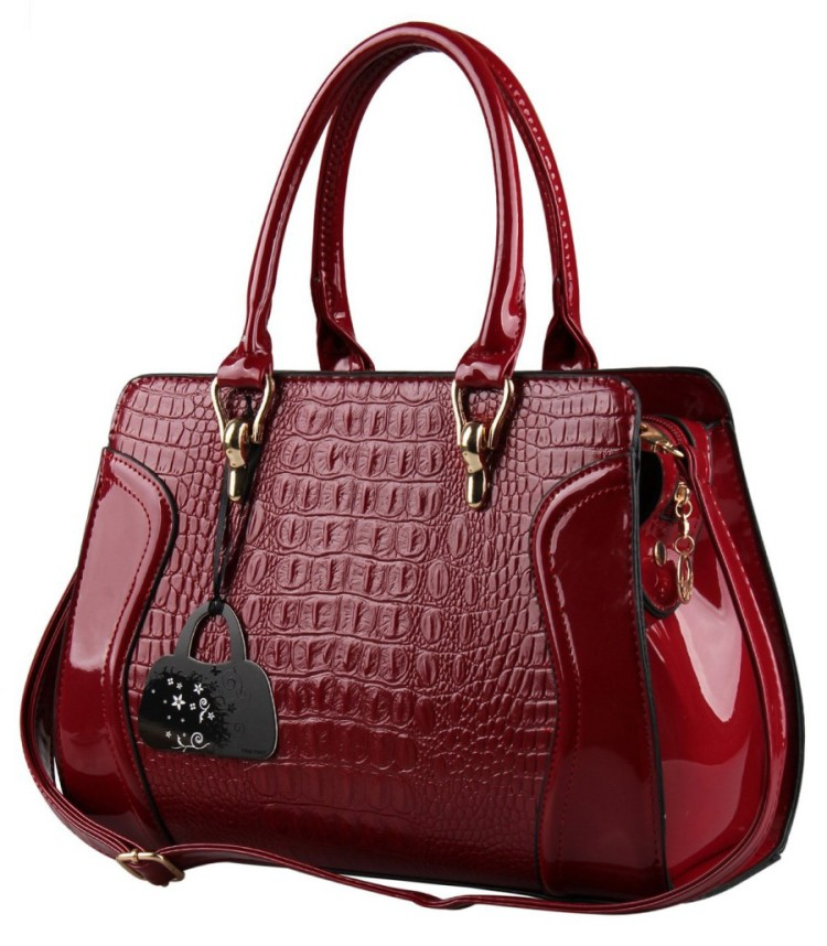 f5f7ceb3d2a8 Hynes Eagle Patent Leather Crocodile Pattern Tote Bags Top Handle Handbags