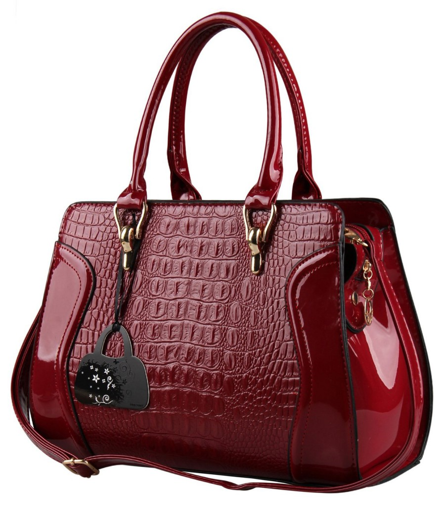 fef193d4db35 Hynes Eagle Patent Leather Crocodile Pattern Tote Bags Top Handle Handbags