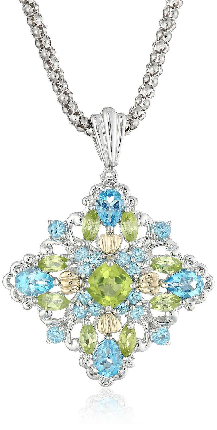 S&G Sterling Silver and 14k Yellow Gold Blue Topaz and ...