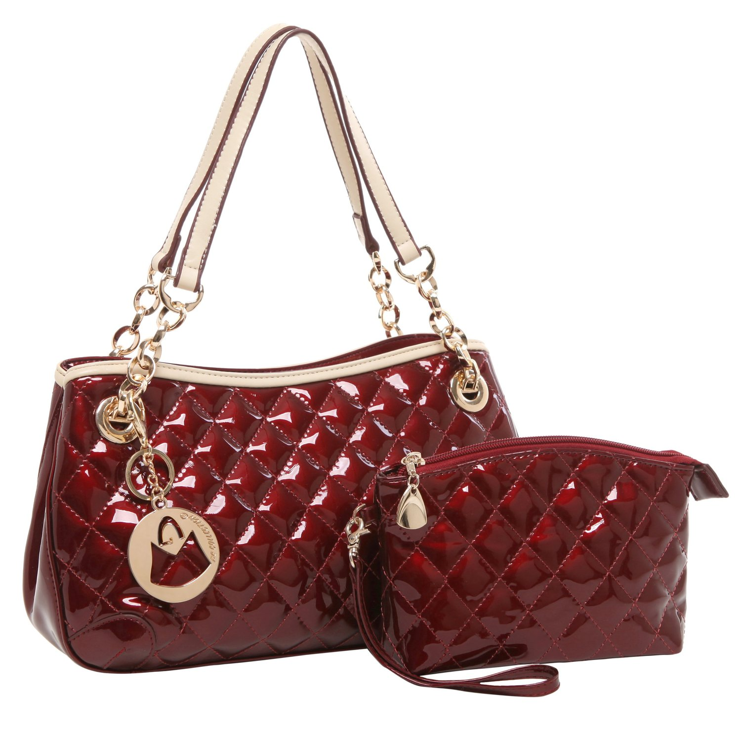 MG Collection ELISE 2 in 1 Stylish Quilted Faux Patent