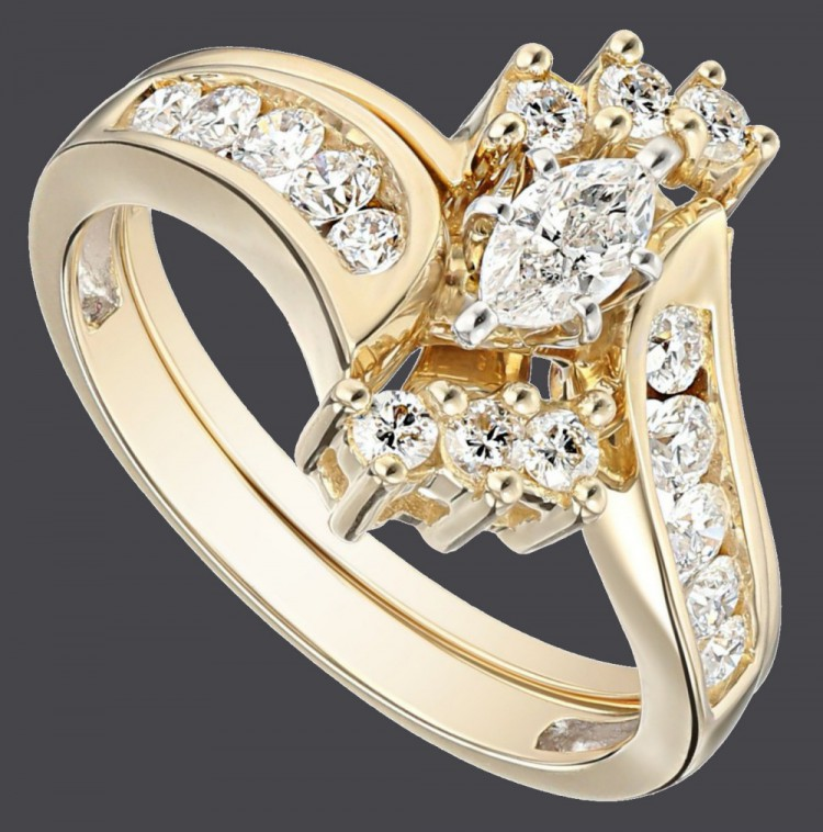 14k Yellow Gold Bypass Diamond With Marquise Wedding Bridal Ring Set Visual