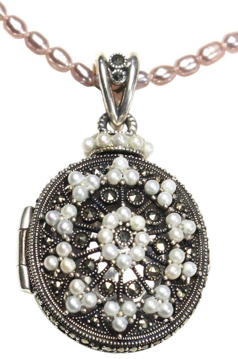 Etched Locket Seed Pearl Sterling Silver Pendant With