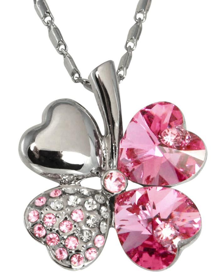 Four Leaf Clover Heart Shaped Swarovski Elements Crystal