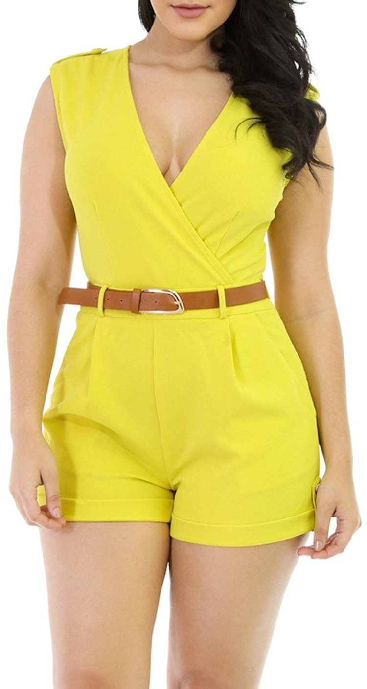 Hotapei Women V Neck Wrap Buckle Up Short Pants Sleeveless