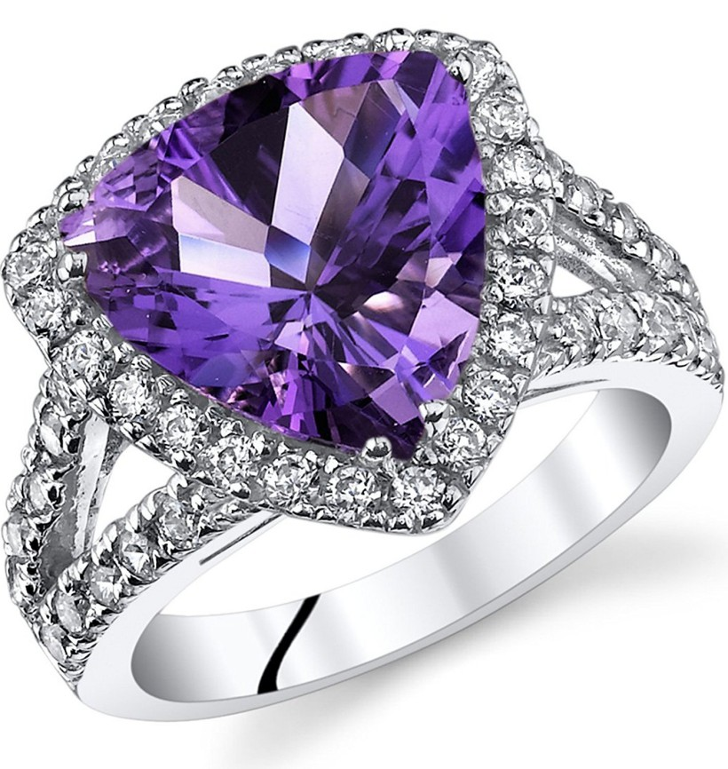 3 75 Carats Trillion Cut Amethyst Cocktail Ring Sterling