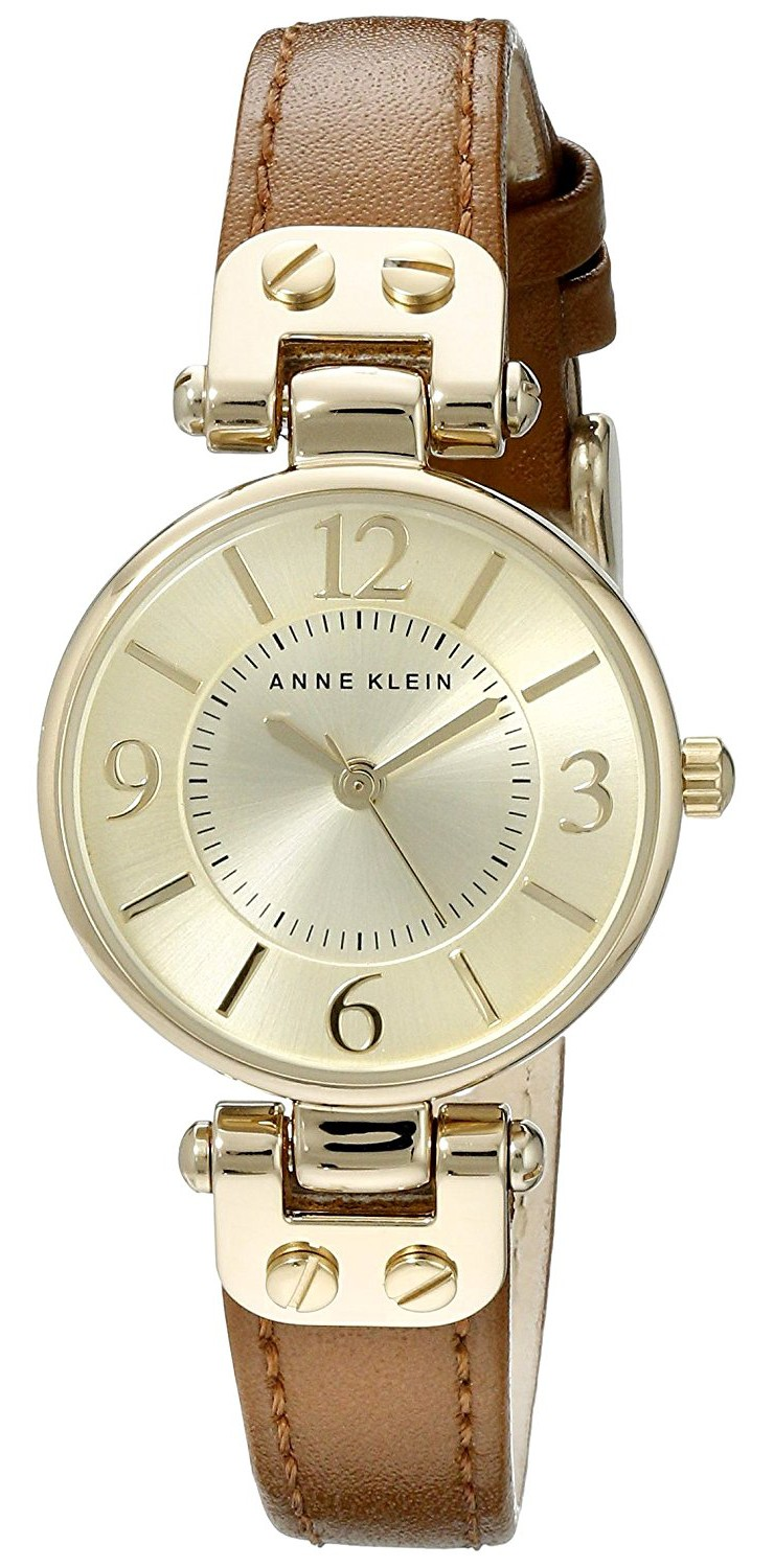 Anne klein women 39 s gold tone champagne dial and brown leather strap watch for Anne klein leather strap