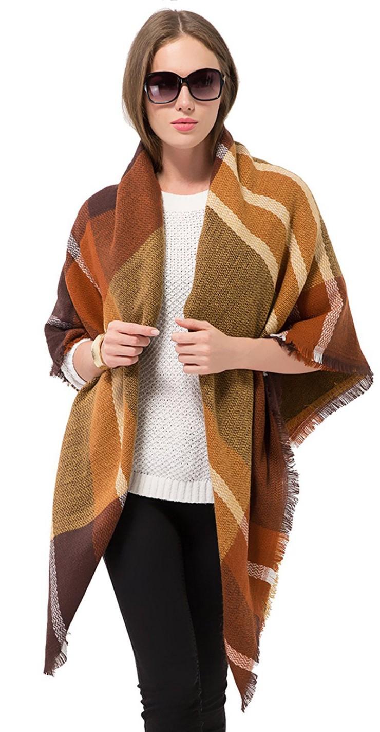 Plaid Blanket Scarf Women Big Square Long Scarves Warm