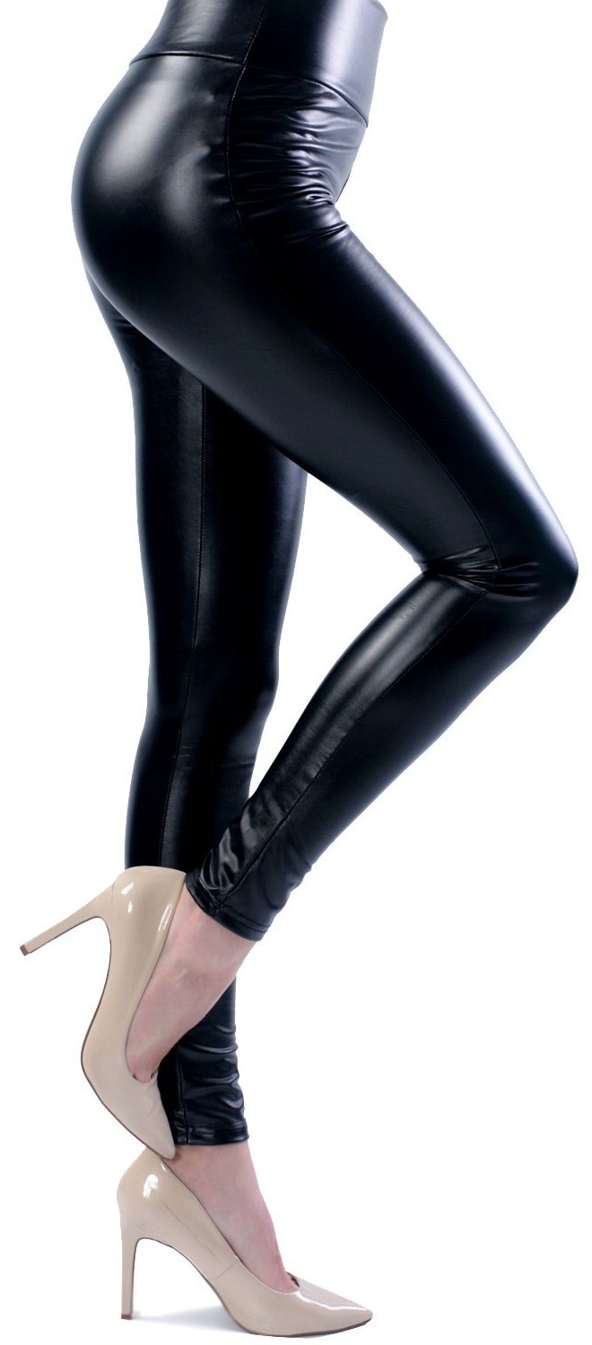 5ee466d971f98 Ginasy Women's Slim Wet Look High Waist Thin Faux Leather Leggings ...