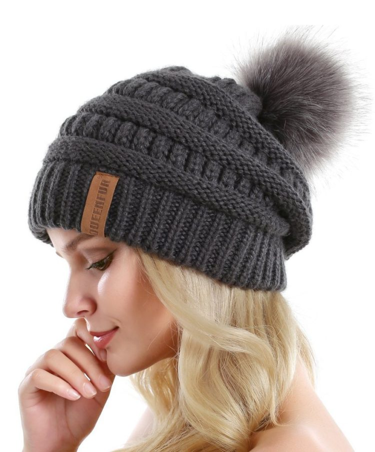 QUEENFUR Women Knit Slouchy Beanie Chunky Baggy Hat with Faux Fur Pompom  Winter Soft Warm Ski Cap ee2a2e2882a7