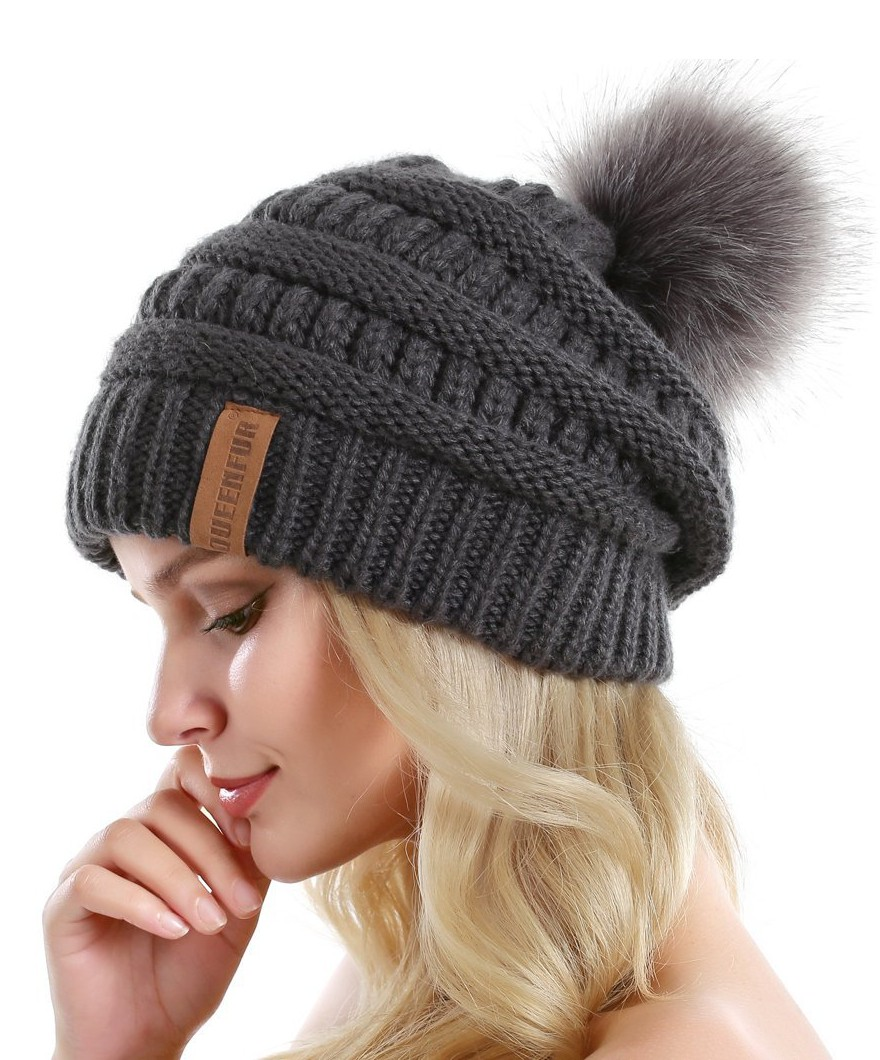 Queenfur Women Knit Slouchy Beanie Chunky Baggy Hat With
